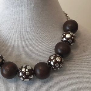 Vintage Wood Bead And Silver Chain Choker Necklace